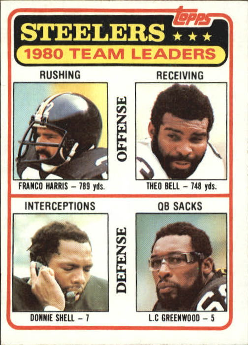 1981 Topps #526 Pittsburgh Steelers TL/Franco Harris/Theo Bell/Donnie Shell/L.C. Greenwood/(checklist back)