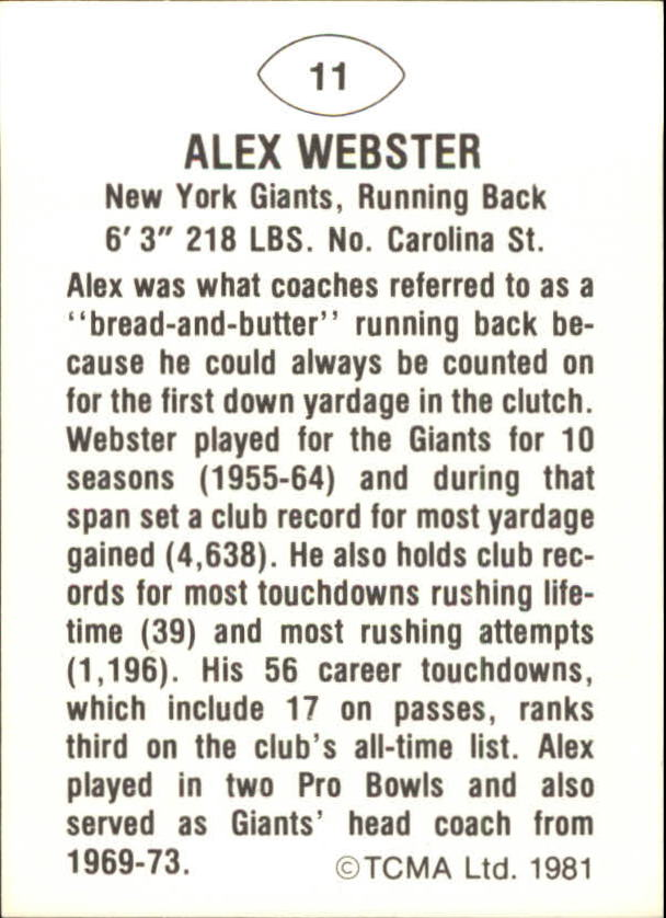 1981 TCMA Greats #11 Alex Webster