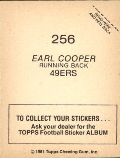 1981 Topps Stickers #256 Earl Cooper