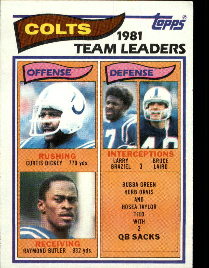 1982 Topps #10 Baltimore Colts TL/Curtis Dickey/Raymond Butler/Larry Braziel/Bruce Laird