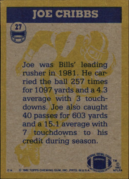 1982 Topps #27 Joe Cribbs IA back image