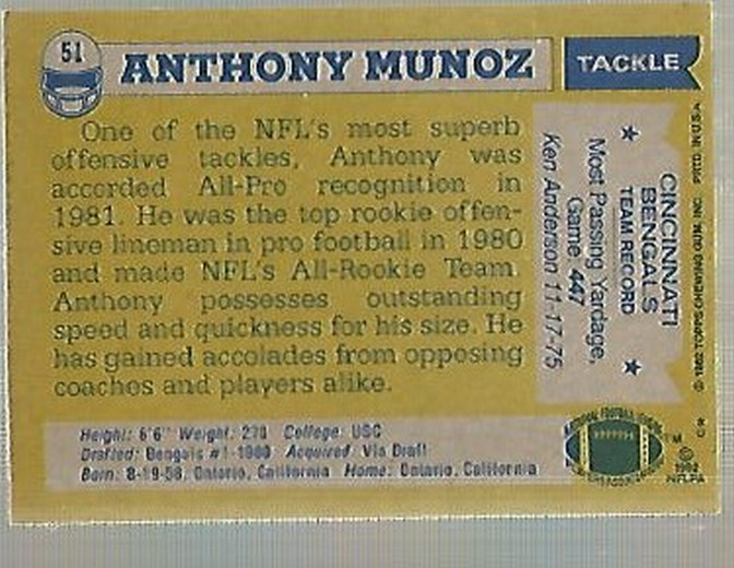 1982 Topps #51 Anthony Munoz RC