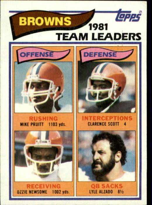 1982 Topps #55 Cleveland Browns TL/Mike Pruitt/Ozzie Newsome/Clarence Scott/Lyle Alzado