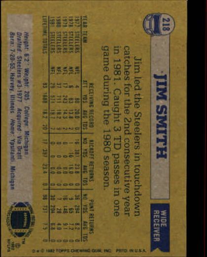 1982 Topps #218 Jim Smith back image