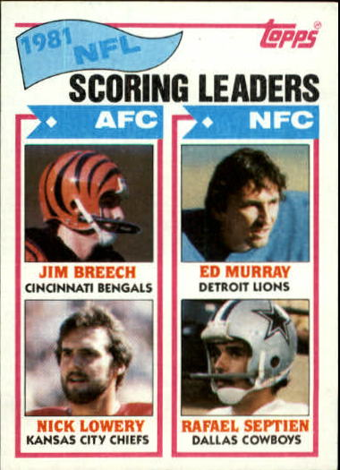 1982 Topps #260 Scoring Leaders/Jim Breech/Nick Lowery/Eddie Murray/Rafael Septien