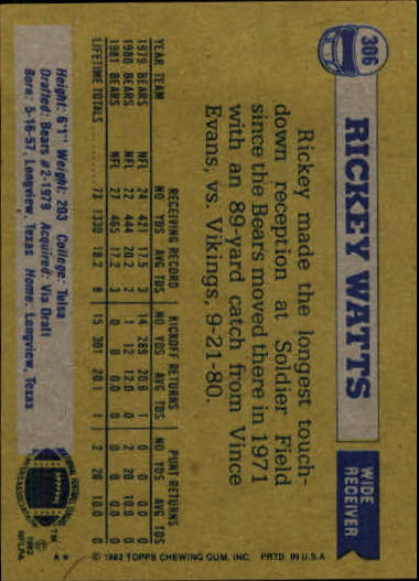 1982 Topps #306 Rickey Watts back image
