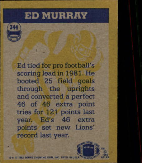 1982 Topps #344 Ed Murray IA back image