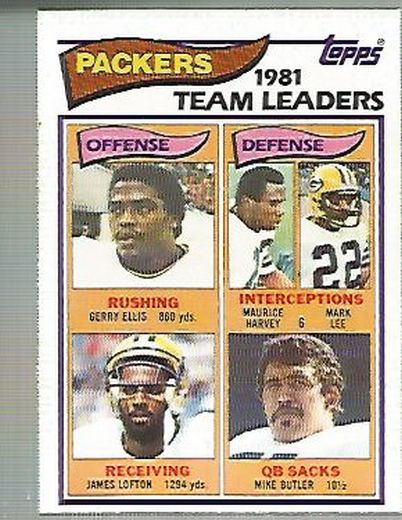 1982 Topps #354 Green Bay Packers TL/Gerry Ellis/James Lofton/Maurice Harvey/Mark Lee/Mike Butler