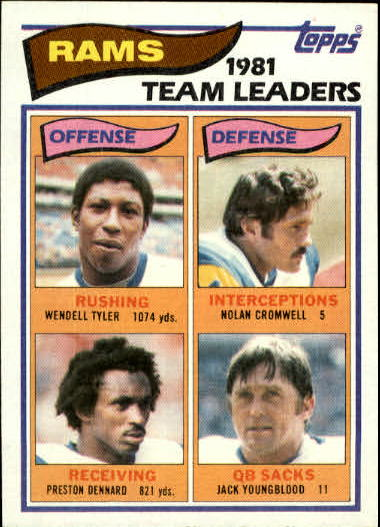 1982 Topps #369 Los Angeles Rams TL/Wendell Tyler/Preston Dennard/Nolan Cromwell/Jack Youngblood