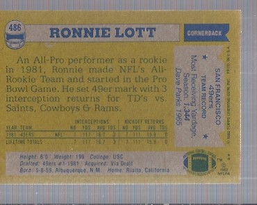 1982 Topps #486 Ronnie Lott RC back image