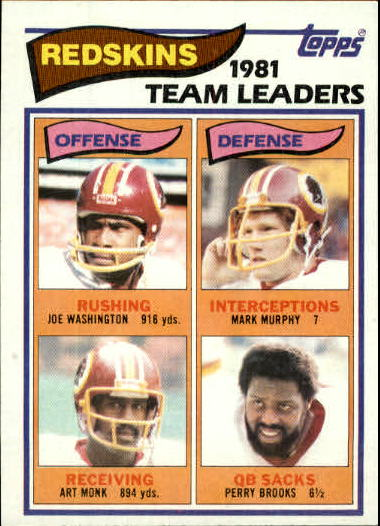 1982 Topps #509 Wash. Redskins TL/Joe Washington/Art Monk/Mark Murphy/Perry Brooks