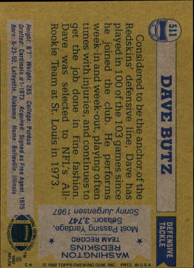 1982 Topps #511 Dave Butz back image
