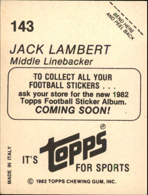 1982 Topps Coming Soon Stickers #143 Jack Lambert AP back image