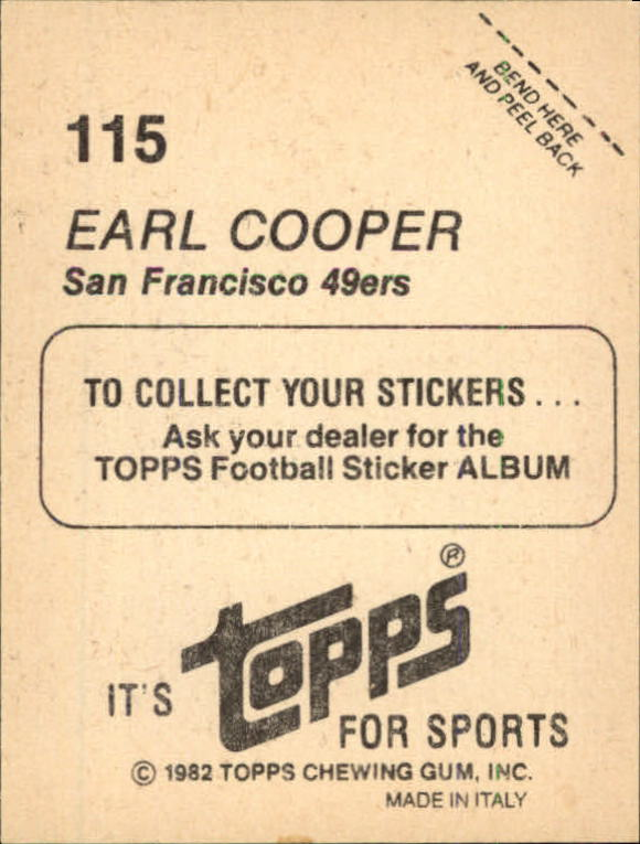 1982 Topps Stickers #115 Earl Cooper