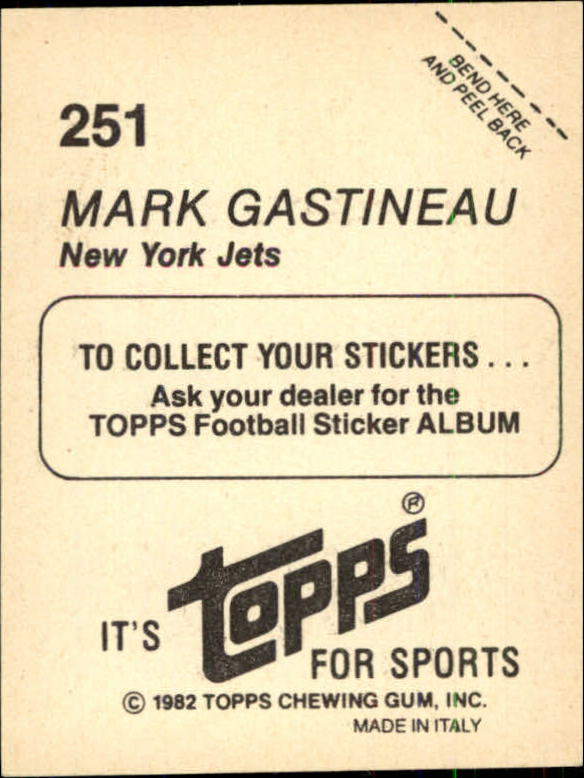 1982 Topps Stickers #251 Mark Gastineau back image