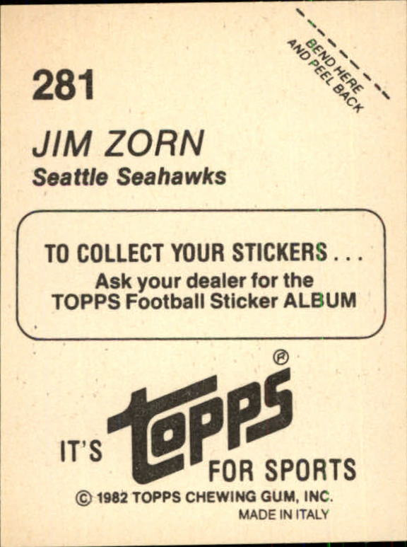 1982 Topps Stickers #281 Jim Zorn back image