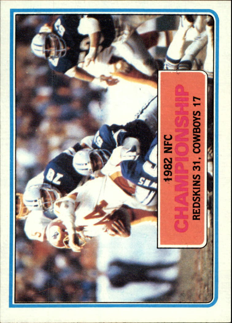1983 Topps #10 NFC Championship/Redskins 31,/Cowboys 17/(John Riggins tackled)