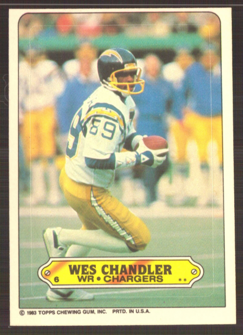 1983 Topps Sticker Inserts #6 Wes Chandler
