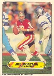 1983 Topps Sticker Inserts #21 Joe Montana front image