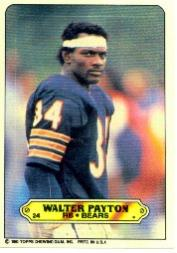 1983 Topps Sticker Inserts #24 Walter Payton