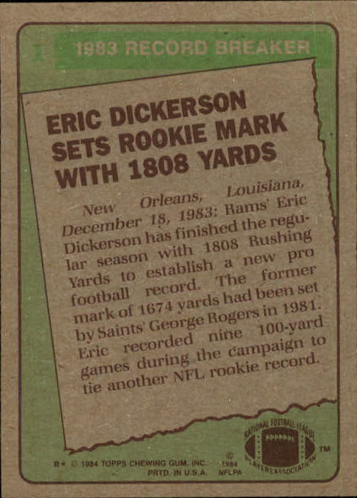 1984 Topps #1 Eric Dickerson RB/Sets Rookie Mark/With 1808 Yards back image