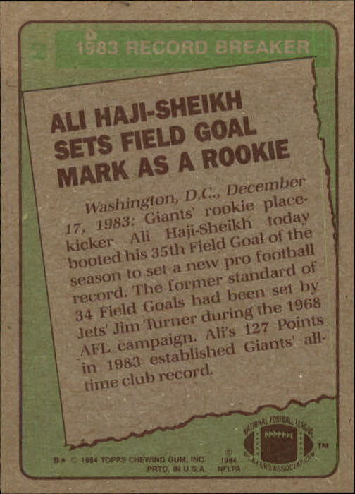 1984 Topps #2 Ali Haji-Sheikh RB/Sets Field Goal/Mark as a Rookie back image