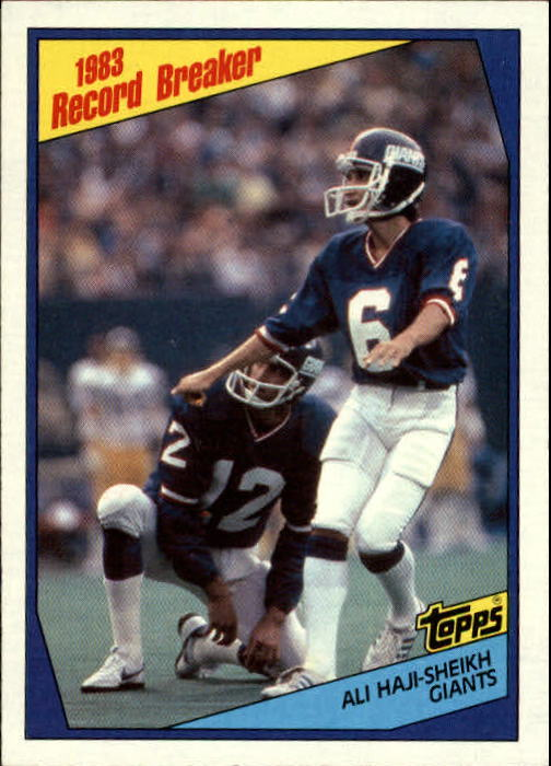 1984 Topps #2 Ali Haji-Sheikh RB/Sets Field Goal/Mark as a Rookie