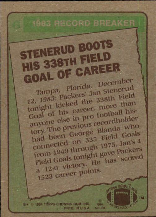 1984 Topps #6 Jan Stenerud RB/338th Career FG back image
