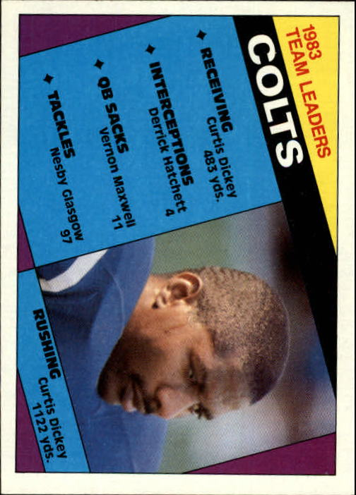 1984 Topps #10 Indianapolis Colts TL/Curtis Dickey