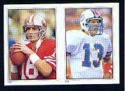 1985 Topps Stickers #282 Joe Montana/ 283 Dan Marino front image
