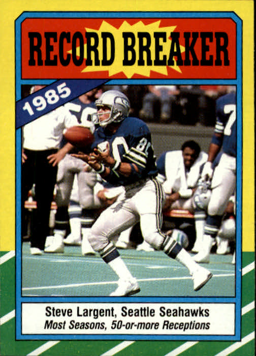 1986 Topps #4 Steve Largent RB/Most Seasons 50 or/More Receptions