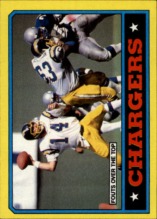 1986 Topps #230 Chargers TL/(Dan Fouts Over Top)