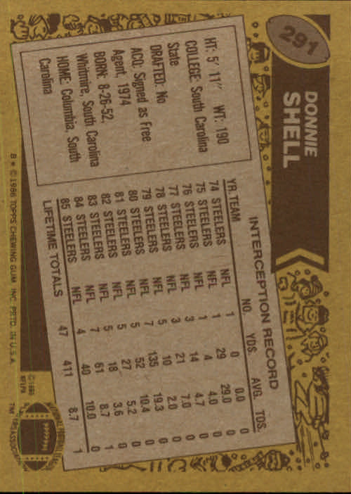 1986 Topps #291 Donnie Shell back image