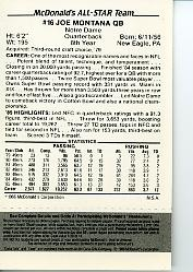 1986 McDonald's All-Stars Green Tab #16 Joe Montana back image