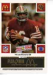1986 McDonald's All-Stars Green Tab #16 Joe Montana front image
