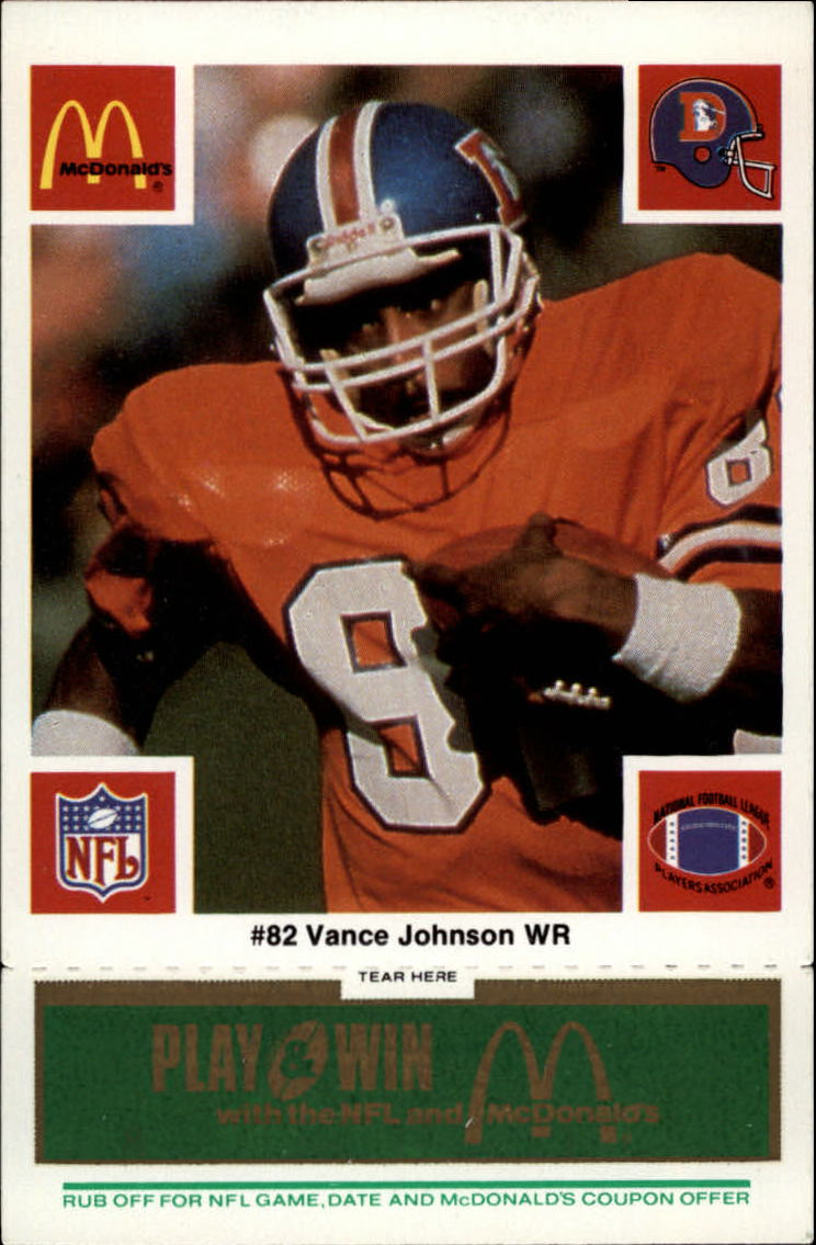 1986 McDonald's Broncos Green Tab #82 Vance Johnson