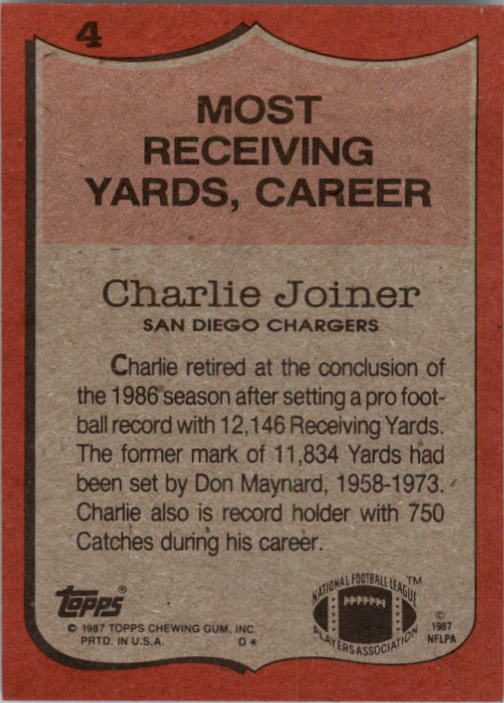 1987 Topps #4 Charlie Joiner RB/Most Receiving/Yards: Career back image