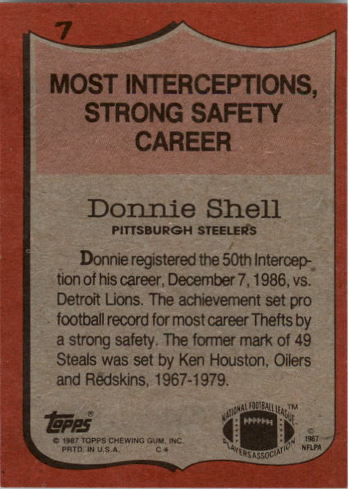 1987 Topps #7 Donnie Shell RB/Most Interceptions&/Strong Safety: Career back image