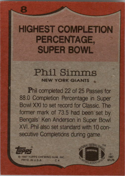 1987 Topps #8 Phil Simms RB/Highest Completion/Percentage: Super Bowl back image