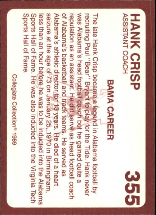 1989 Alabama Coke 580 #355 Hank Crisp CO