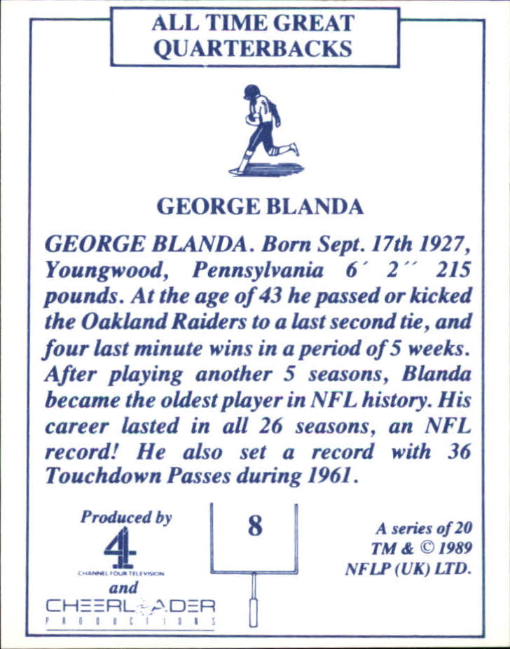 1989 TV-4 NFL Quarterbacks #8 George Blanda back image