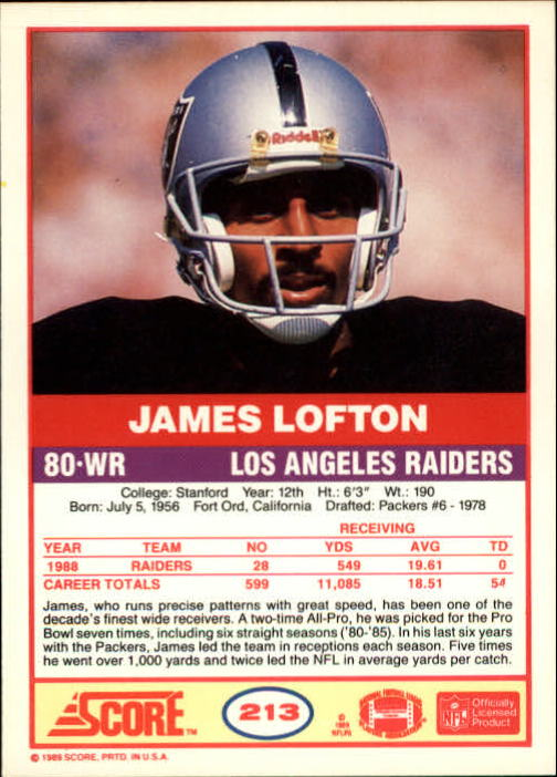 1989 Score #213 James Lofton back image