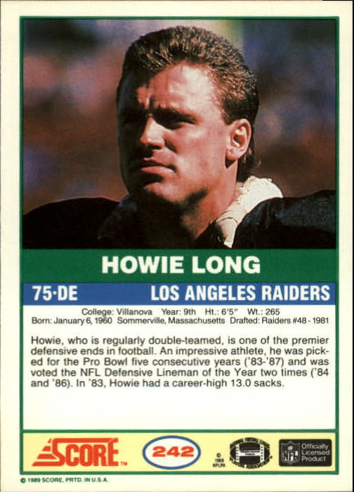 1989 Score #242 Howie Long back image