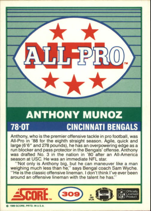 1989 Score #309 Anthony Munoz AP back image