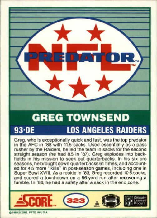 1989 Score #323 Greg Townsend PRED back image