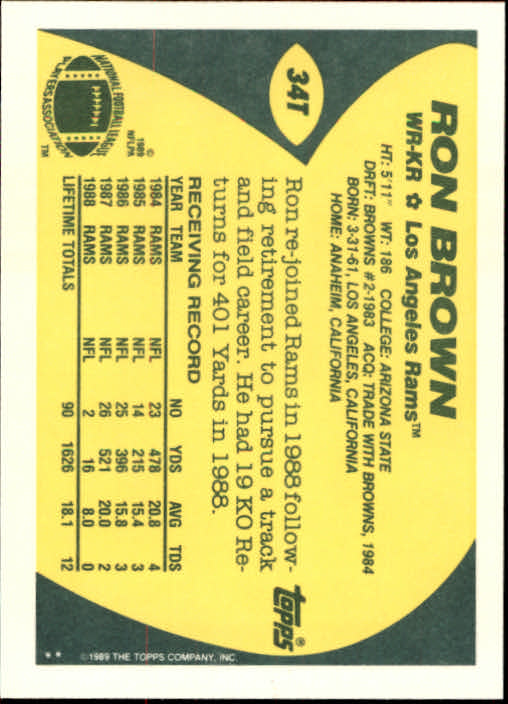 1989 Topps Traded #34T Ron Brown back image