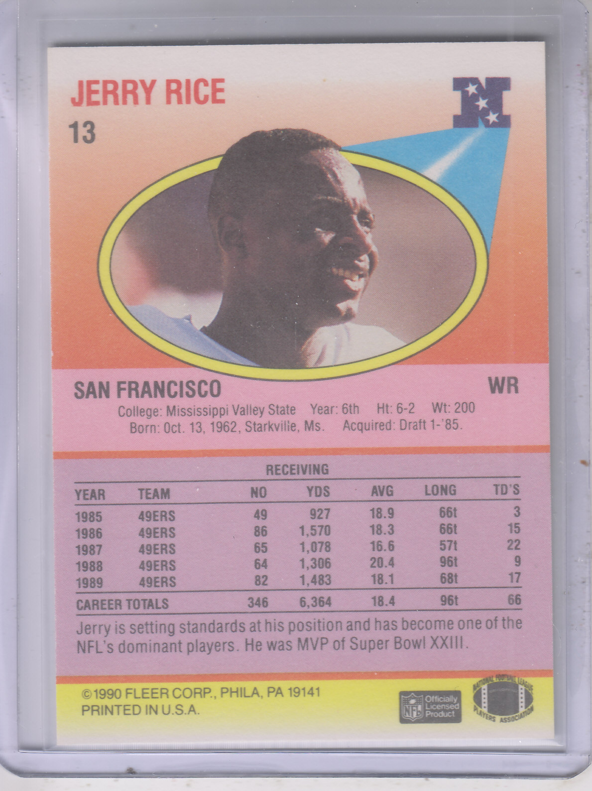 1990 Fleer #13 Jerry Rice back image