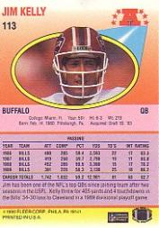 1990 Fleer #113 Jim Kelly back image
