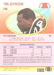 1990 Fleer #144 Tim Johnson back image