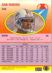 1990 Fleer #244 Dan Marino back image